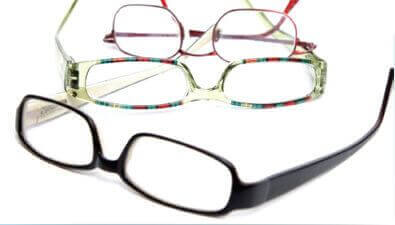 Eyeglasses on a table